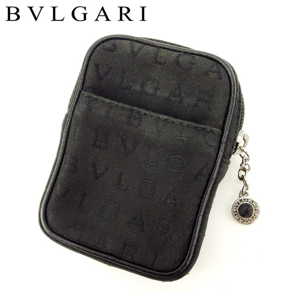 【中古】 ブルガリ BVLGARI ポーチ マルチポーチ シガレットケース レディース メンズ ロゴマニア ブラック キャンバス×レザー 人気 セール L2439 .