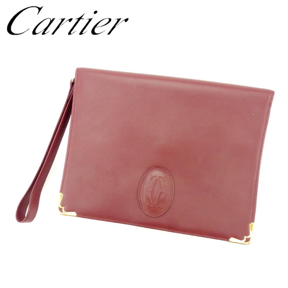【中古】 カルティエ Cartier クラッチバッグ セカンドバッグ レディース メンズ マストライン ボルドー レザー 人気 良品 L2440 .