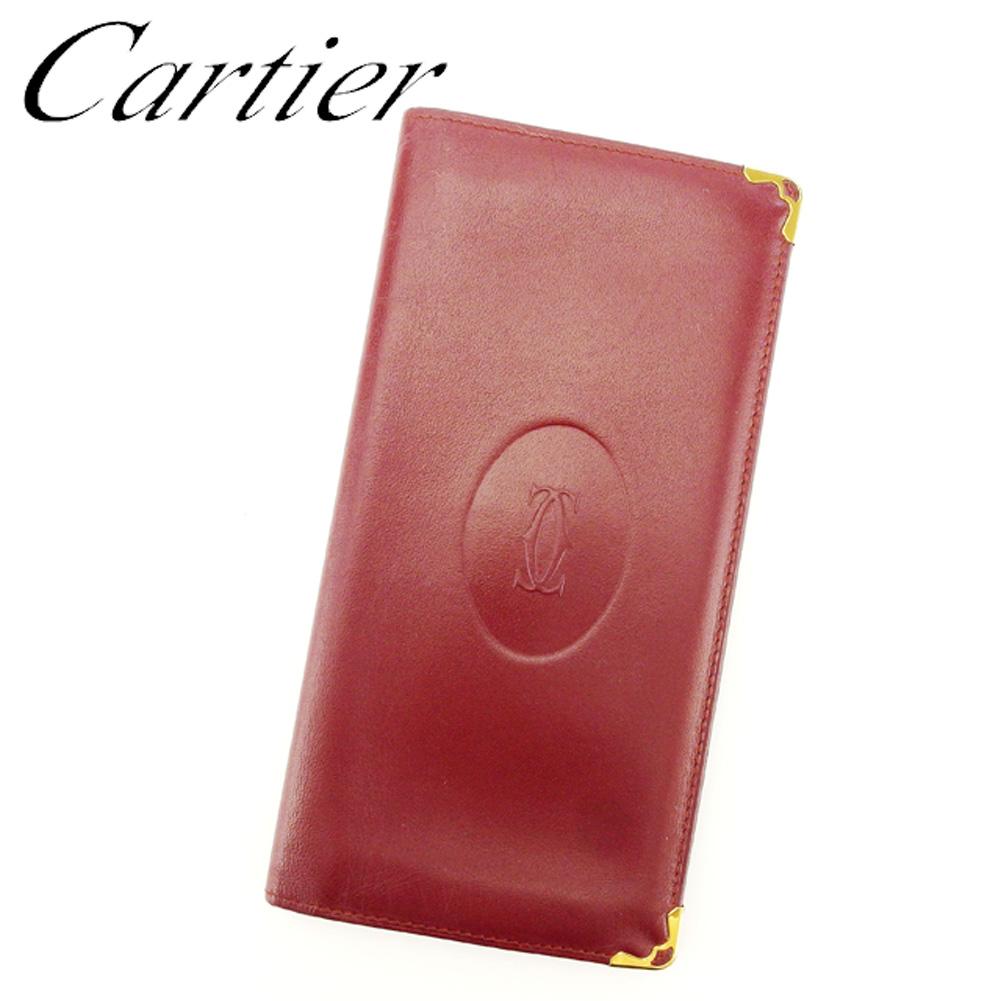 【中古】 カルティエ Cartier 長札入れ 長財布 レディース メンズ マストライン ボルドー レザー 人気 セール L2441 .