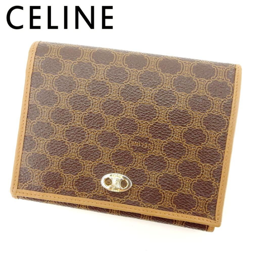 【中古】 セリーヌ CELINE がま口 財布 二つ折り 財布 レディース メンズ マカダム ブラウン PVC×レザー 人気 セール L2443