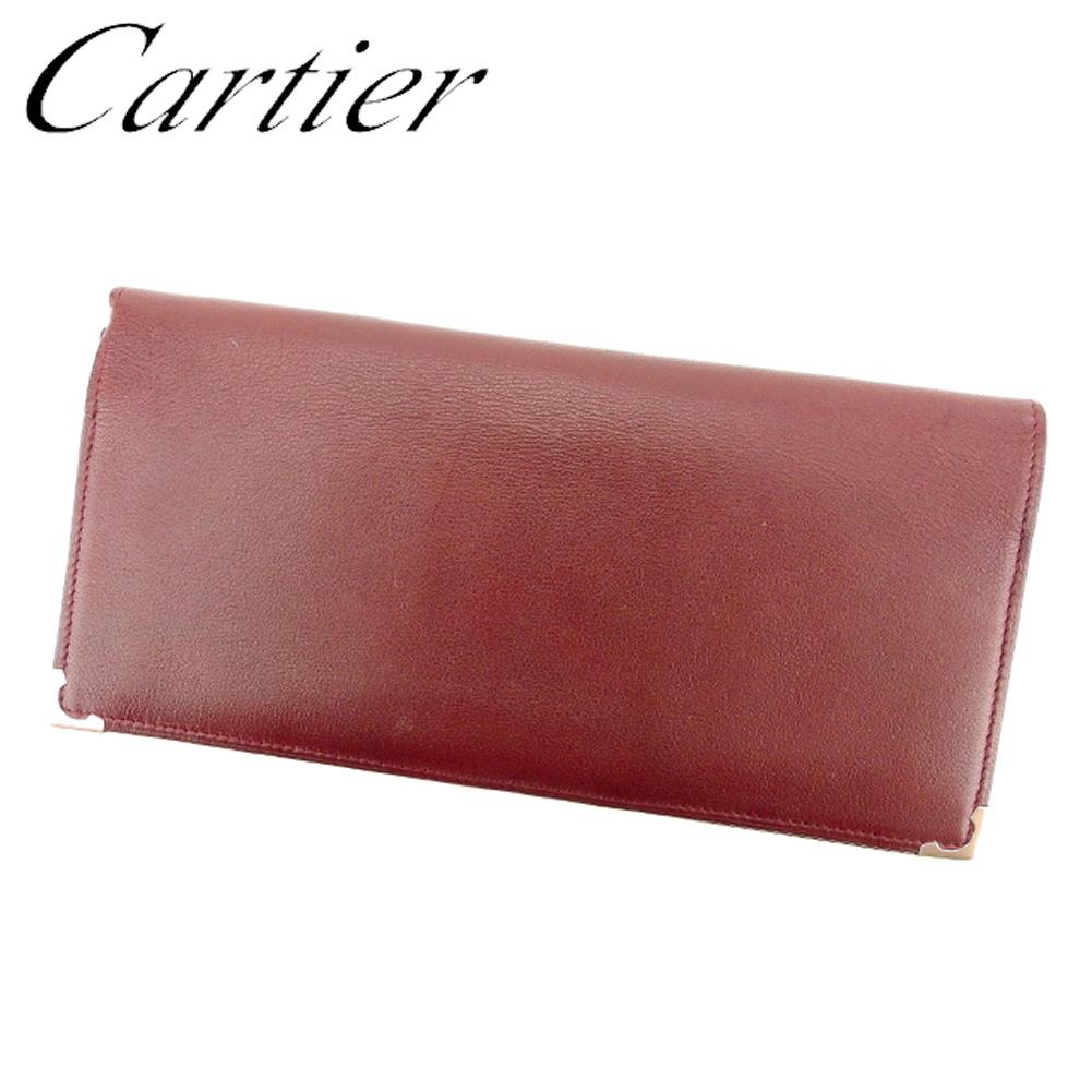 【中古】 カルティエ Cartier 長札入れ 長財布 レディース メンズ ボルドー レザー L2444 .