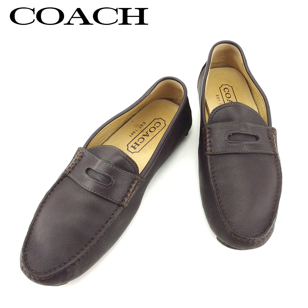 3513d478e54 Coach COACH loafer shoes shoes men driving brown beige leather loafer Q436s