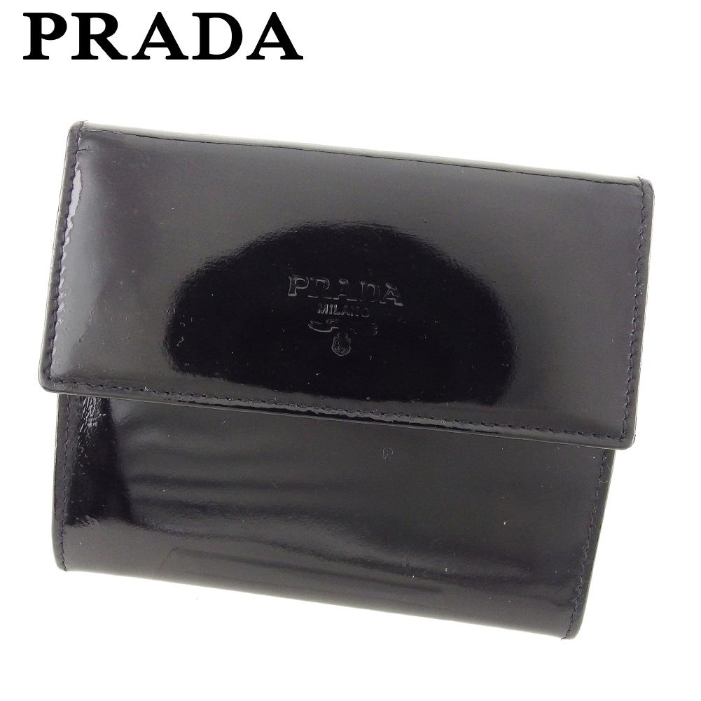 4665a81352ef 【中古】 プラダ PRADA コインケース 小銭入れ レディース メンズ ロゴ ブラック エナメルレザー 人気