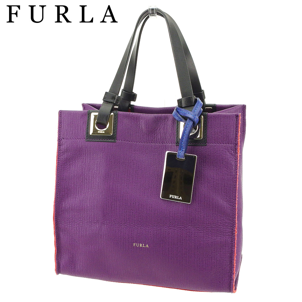 79d35c154df Color block purple black blue system leather beauty product sale Q447 with  the フルラ FURLA tote bag Thoth handbag Lady's plate tag.