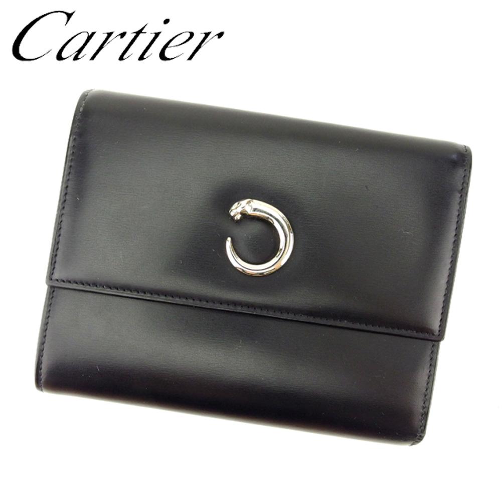 【中古】 カルティエ Cartier 三つ折り 財布 レディース メンズ 可 パンテール ブラック シルバー レザー 人気 良品 T7700