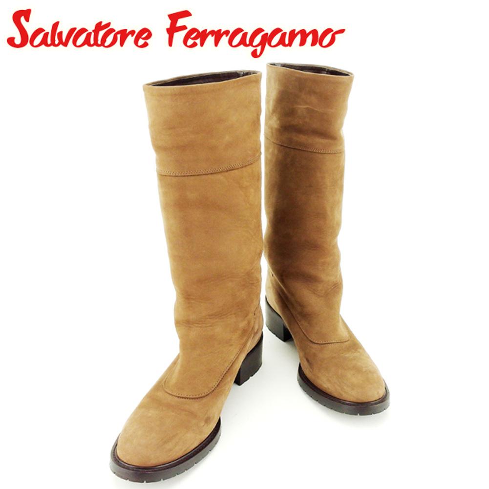 【中古】 サルヴァトーレ フェラガモ Salvatore Ferragamo ブーツ シューズ 靴 レディース ♯7C ガンチーニベルト ブラウン ゴールド ヌバック レザー T7704