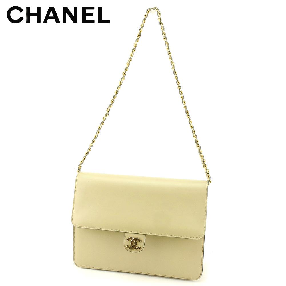 【中古】 シャネル Chanel ショルダーバッグ バック チェーンショルダー バッグ バック ベージュ ゴールド ココマーク レディース T7724s
