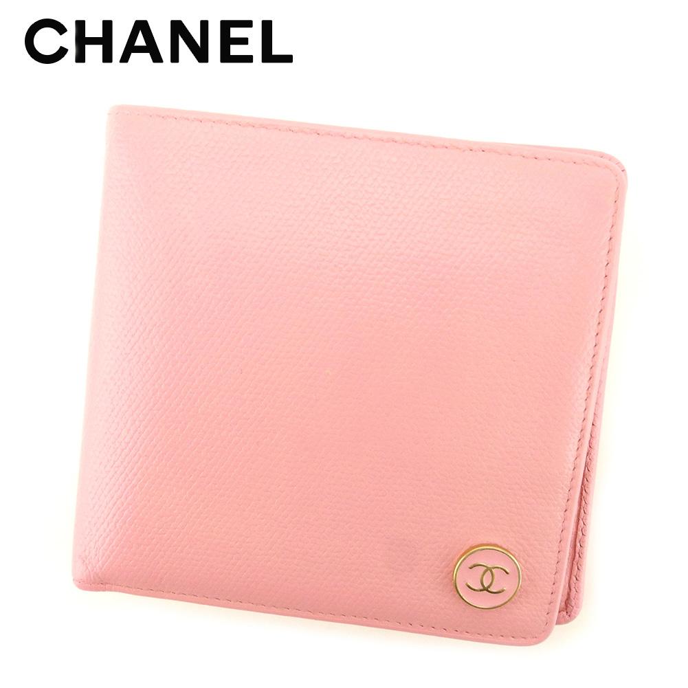 【中古】 シャネル CHANEL 二つ折り 財布 レディース オールドシャネル ココボタン ピンク ゴールド レザー ヴィンテージ 美品 T7725