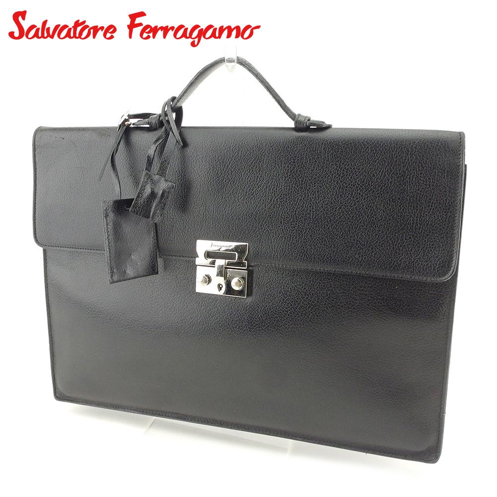 【中古】 サルヴァトーレ フェラガモ Salvatore Ferragamo ビジネスバッグ ブリーフケース メンズ ロゴプレート ブラック シルバー レザー 人気 セール T7730 .