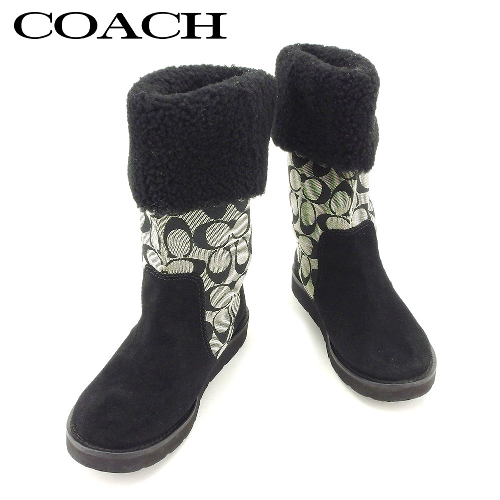 7d59f3fcad8e Coach COACH boots shoes shoes Lady s ♯ 6 half B middle signature black gray  gray canvas X suede popularity quality goods T7746