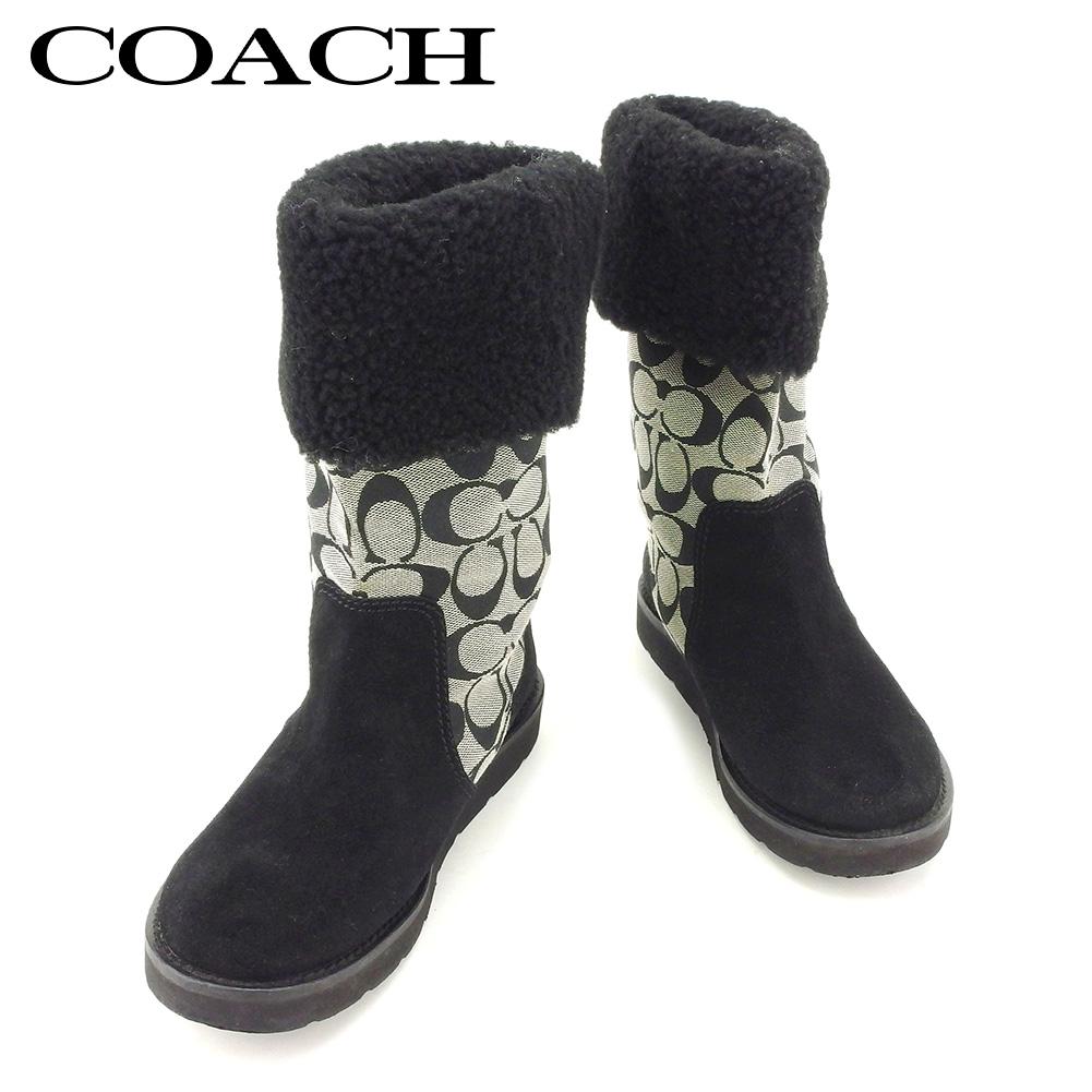 【中古】 コーチ COACH ブーツ シューズ 靴 レディース ♯6ハーフB ミドル ブラック グレー 灰色 キャンバス×スエード T7746