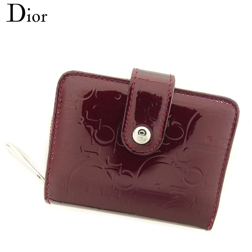 【中古】 ディオール Dior コインケース カード入れ レディース ボルドー シルバー エナメルレザー T7752