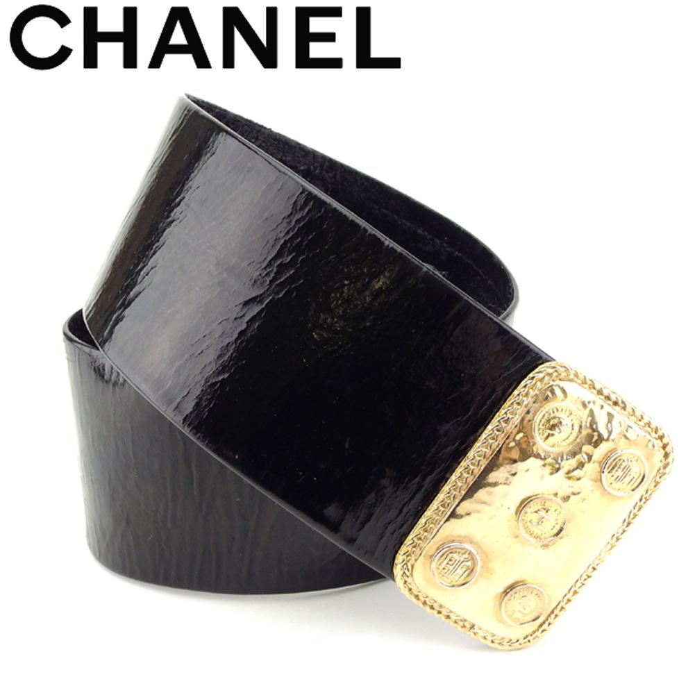 【中古】 シャネル CHANEL ベルト レディース ヴィンテージクラシック ブラック ゴールド レザー ヴィンテージ 人気 T8128 .