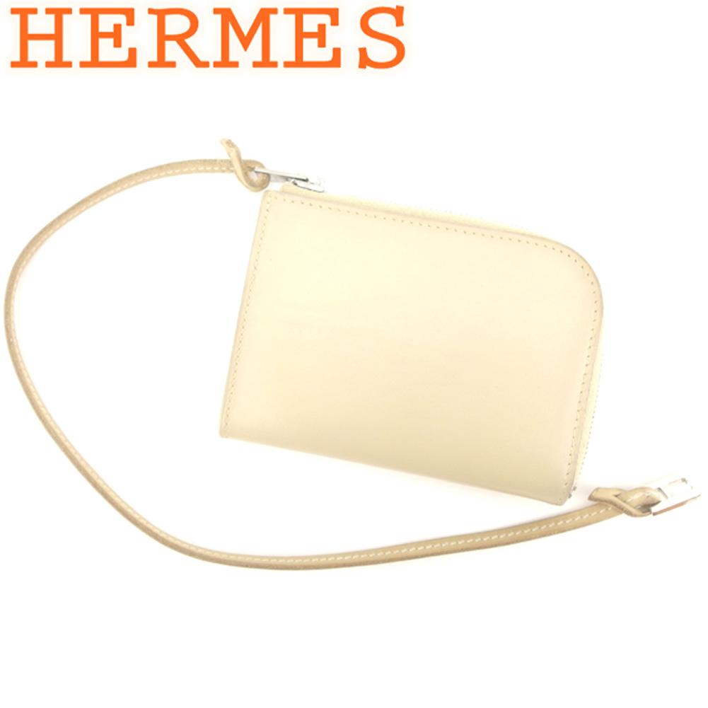 【中古】 エルメス HERMES カードケース コインケース レディース メンズ  ベージュ レザー 美品 セール T8130 .