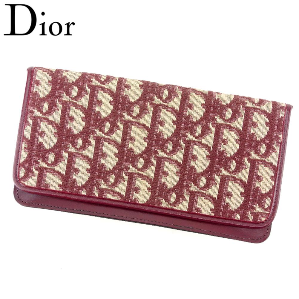 【中古】 ディオール Dior 長札入れ 長財布 レディース トロッター ボルドー ベージュ キャンバス×レザー 人気 セール T8141