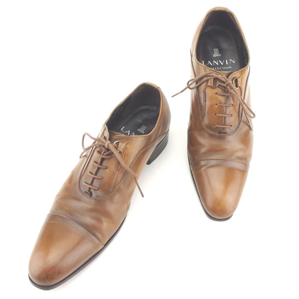 【中古】 ランバン LANVIN シューズ 靴 メンズ #24ハーフ 編み上げ ブラウン レザー 人気 良品 T8142 .