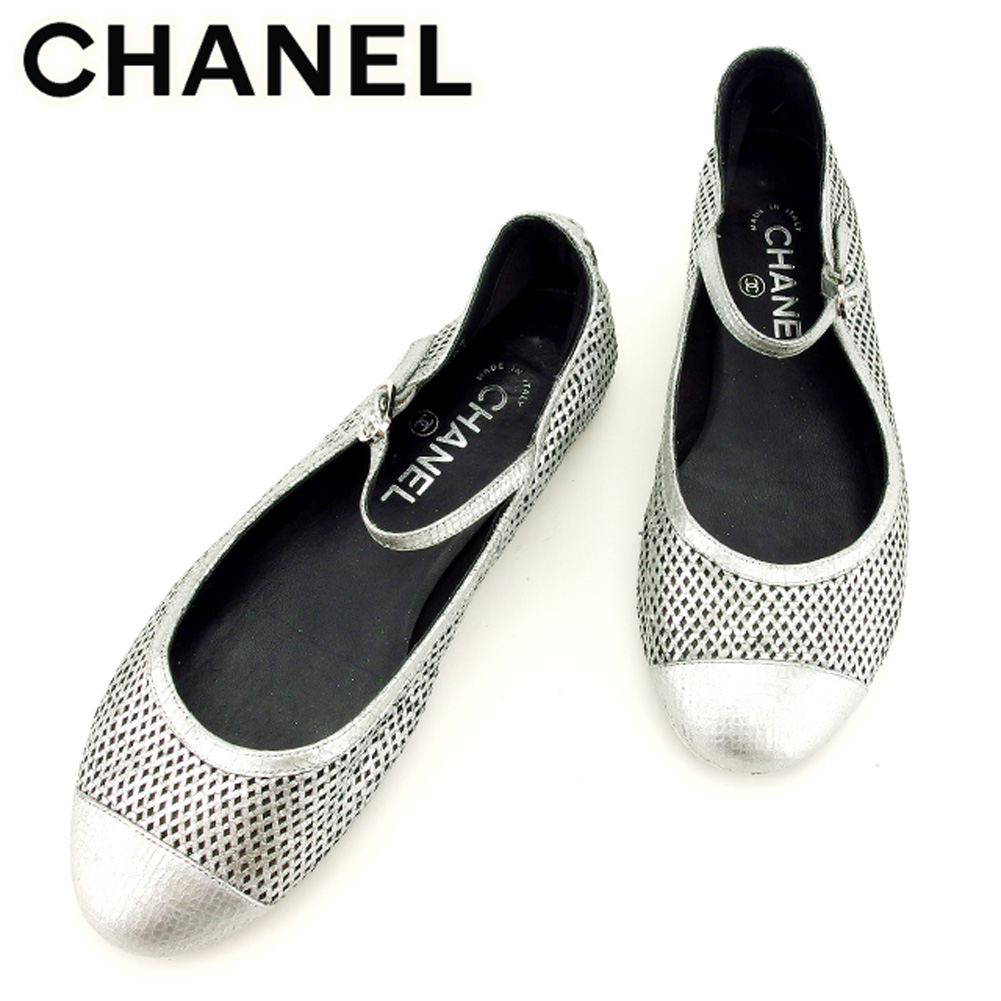 e837e058ce17 Chanel CHANEL pumps shoes shoes Lady s  37 half Coco mark silver leather  popularity sale T8315