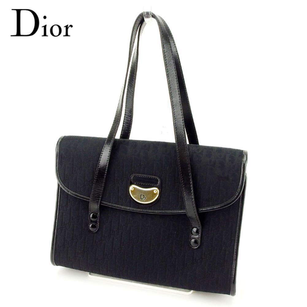 【中古】 ディオール Dior ハンドバッグ レディース トロッター ブラック キャンバス×レザー 人気 セール T8317 .
