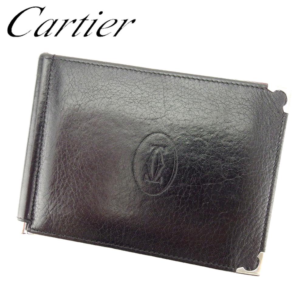 【中古】 カルティエ Cartier 二つ折り 札入れ 二つ折り 財布 レディース メンズ ブラック レザー T8318