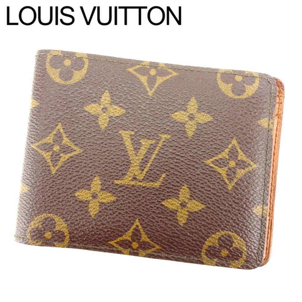 【中古】 ルイ ヴィトン LOUIS VUITTON 二つ折り札入れ レディース メンズ ポルトフォイユミュルティプル ブラウン PVC×レザ- T8327 .