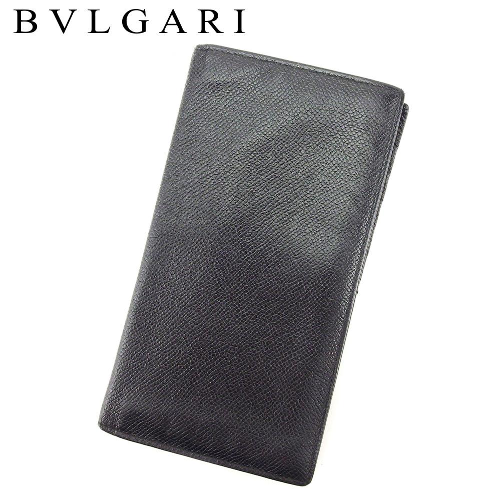 【中古】 ブルガリ BVLGARI 長札入れ 長財布 レディース メンズ ブラック レザー T8333 .