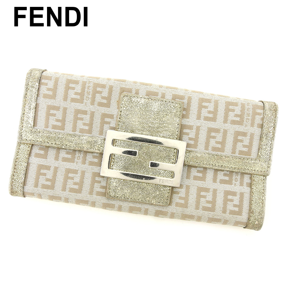 【中古】 フェンディ 長財布 さいふ ファスナー付き 長財布 さいふ ズッキーノ シルバー ベージュ キャンバス×レザー FENDI T8334 ブランド
