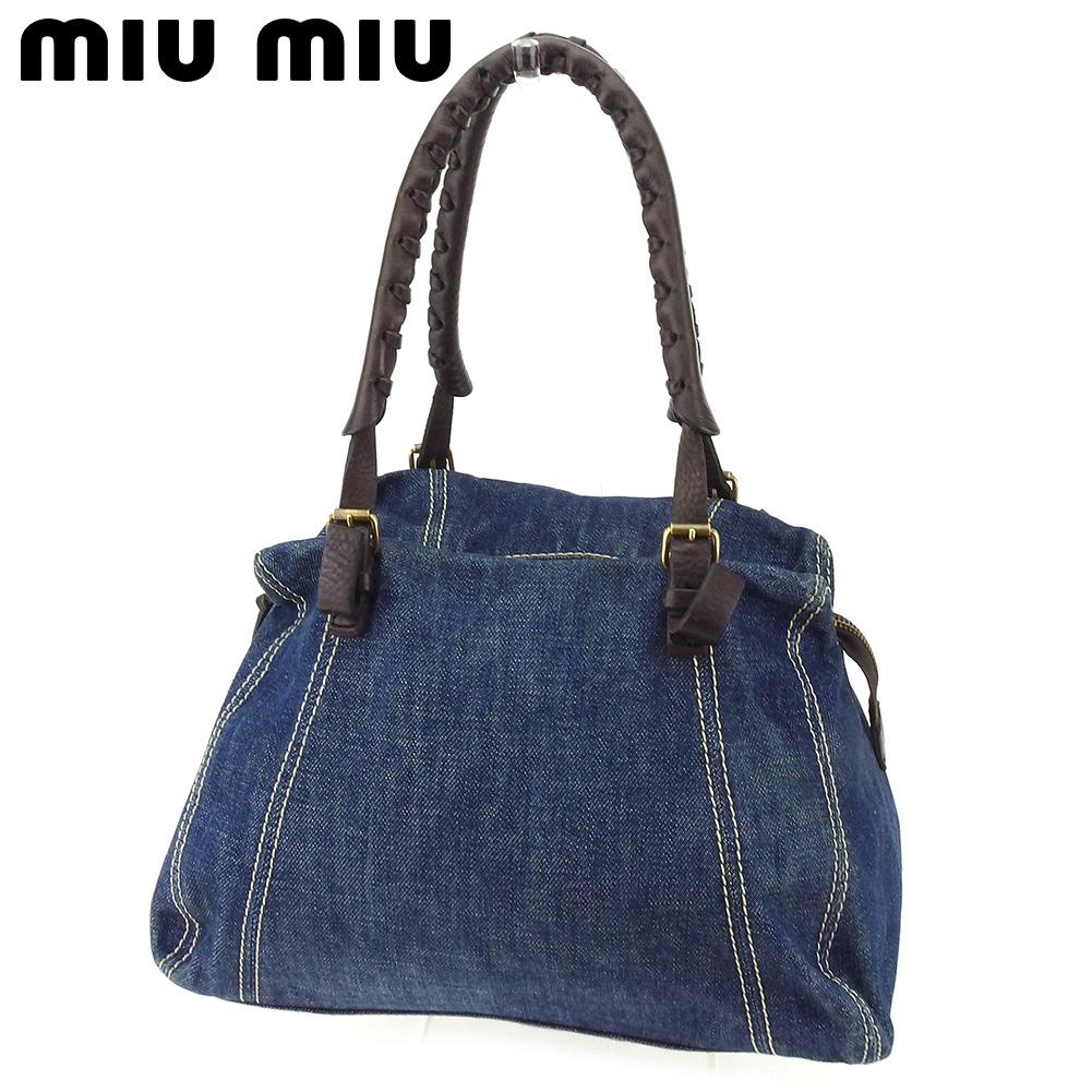 9b6b270ed3d1 BRAND DEPOT TOKYO  ミュウミュウ miu miu handbag mini-Boston bag Lady s men blue  brown canvas X leather popularity sale T8335