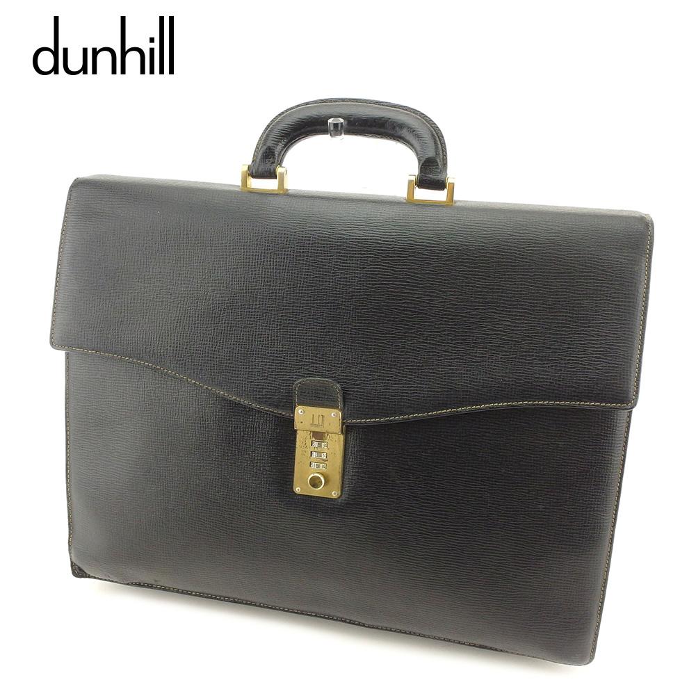 【中古】 ダンヒル dunhill ビジネスバッグ ブリーフケース メンズ ロゴプレート ブラック ゴールド レザー 人気 セール T8375 .