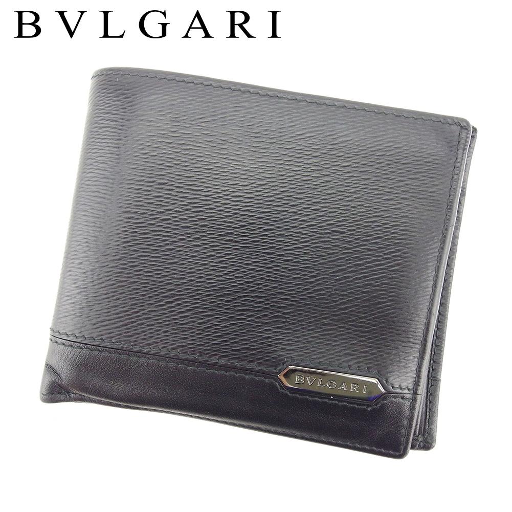 【中古】 ブルガリ BVLGARI 二つ折り 財布 メンズ セルペンティ スカリエマン ブラック レザー 美品 セール T8382 .