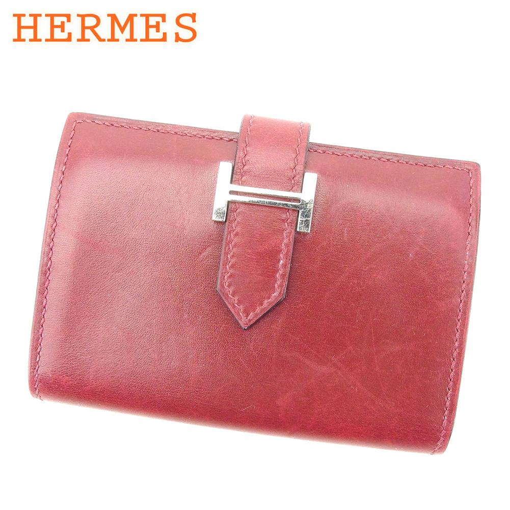 【中古】 エルメス HERMES カードケース カード 名刺入れ レディース メンズ ボルドー シルバー レザー T8383