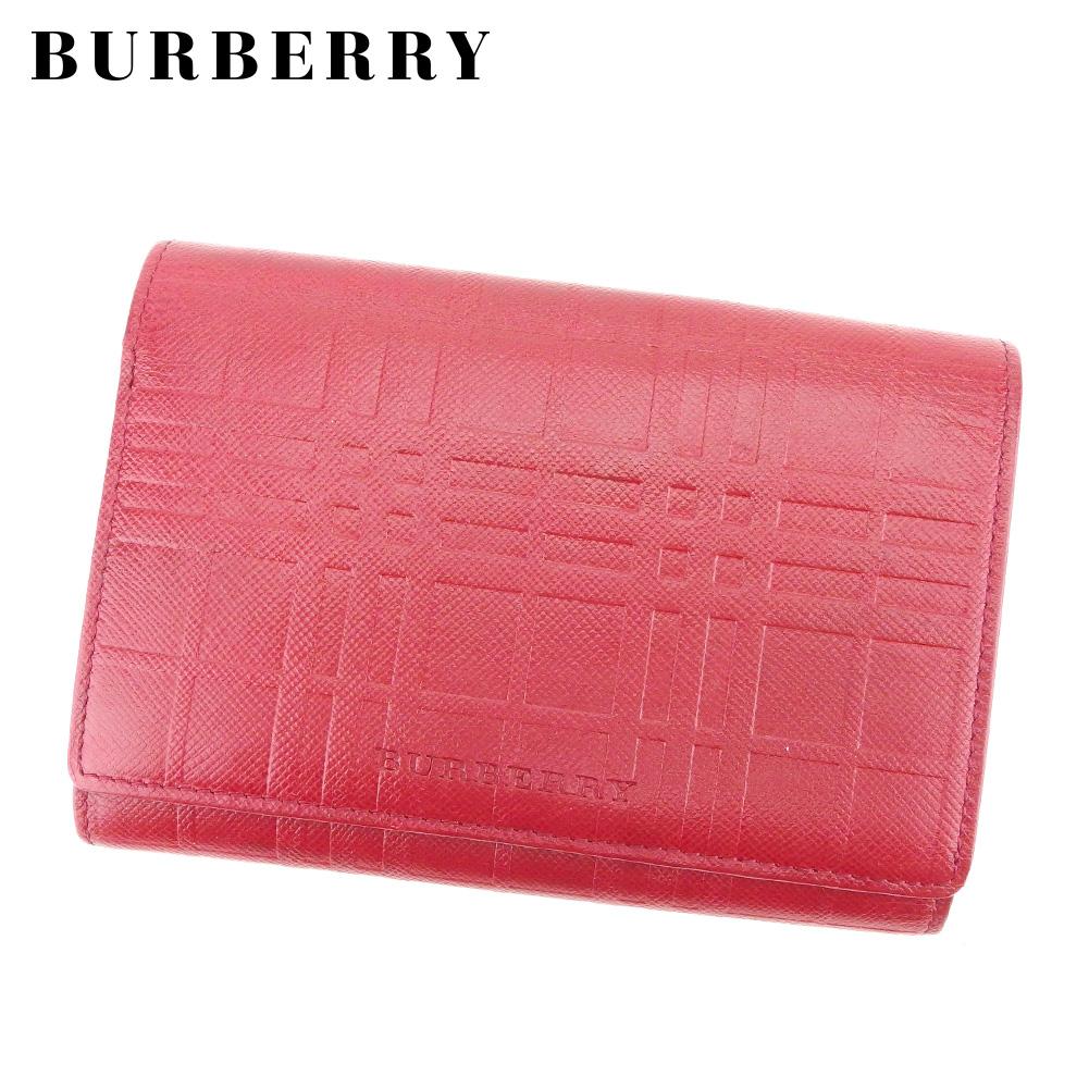 【中古】 バーバリー BURBERRY 三つ折り 財布 L字ファスナー レディース メンズ  レッド レザー 人気 セール L2497