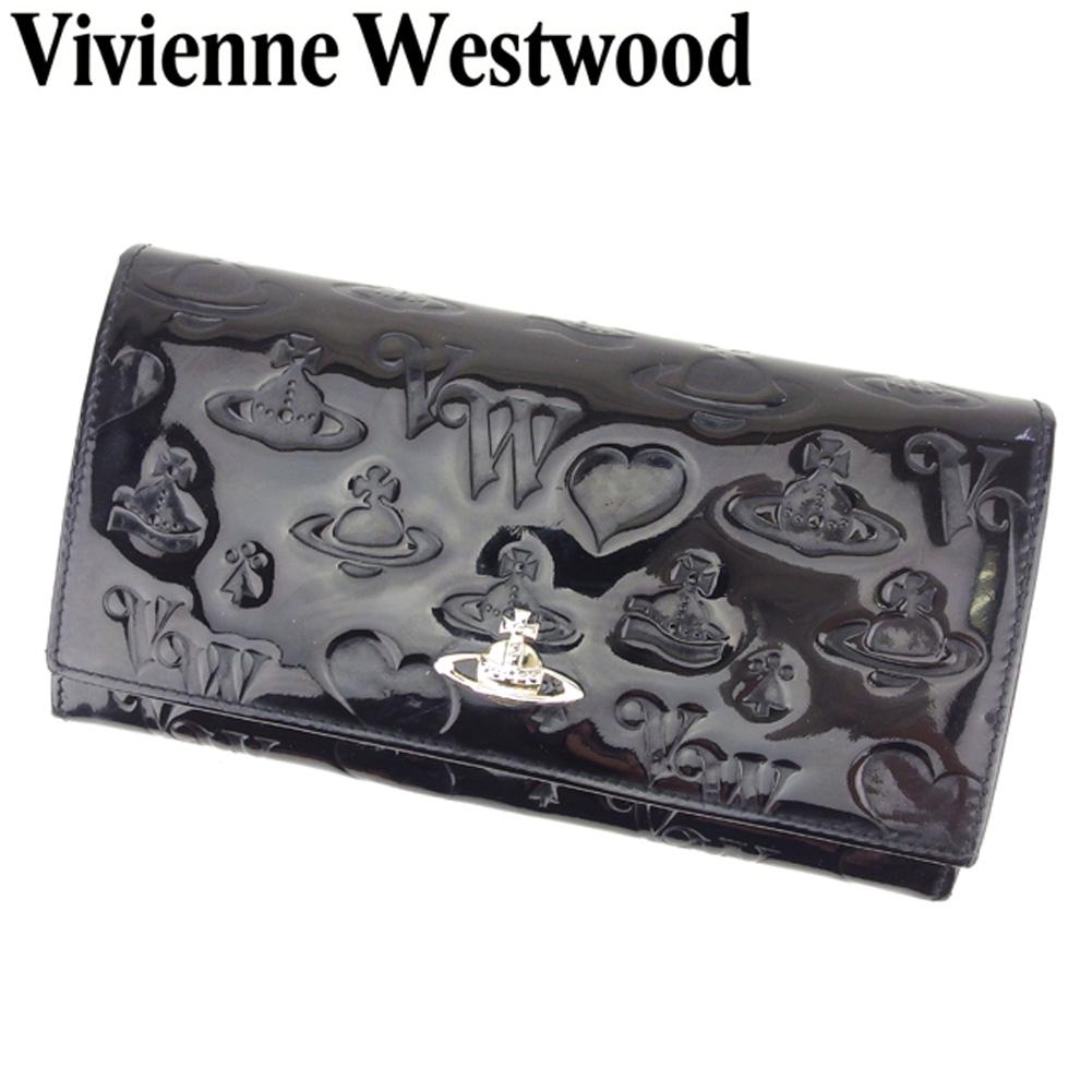 【中古】 ヴィヴィアン ウエストウッド Vivienne Westwood 長財布 ラウンドファスナー 財布 レディース ハート オーブ ブラック ゴールド エナメルレザー 人気 セール S904
