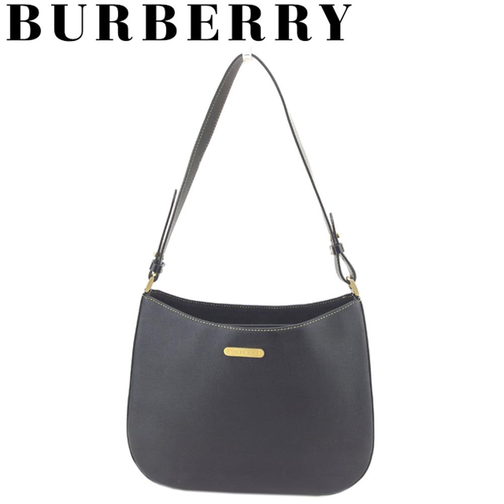 7a9b4b4aae32 Burberry BURBERRY shoulder bag one shoulder bag lady logo plate black gold  leather popularity sale S910