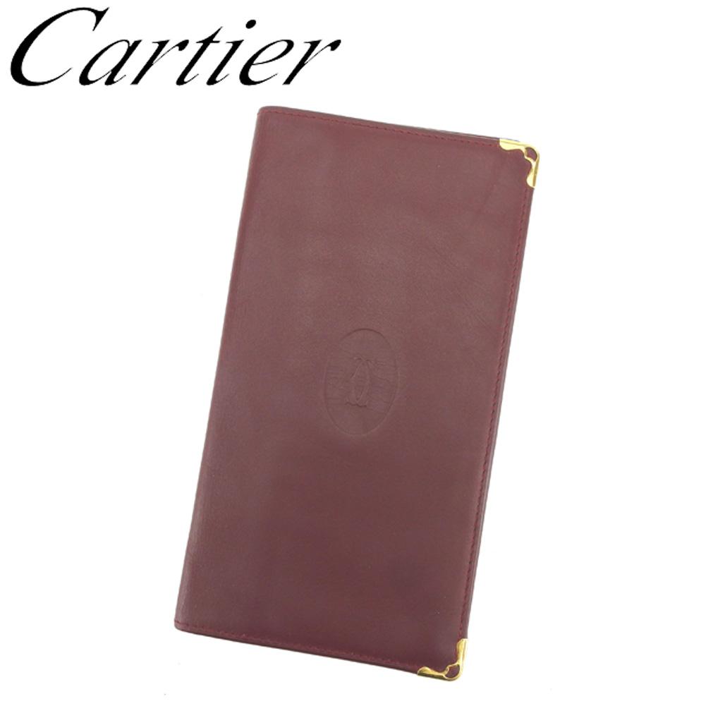 【中古】 カルティエ Cartier 長札入れ 札入れ レディース メンズ ボルドー ゴールド レザー T13970 ブランド