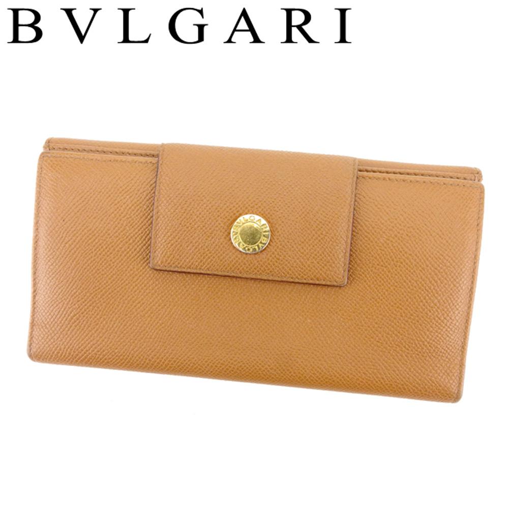 【中古】 ブルガリ BVLGARI 長財布 三つ折り Wホック 財布 レディース メンズ ロゴボタン ライトブラウン ゴールド レザー 人気 良品 T8219