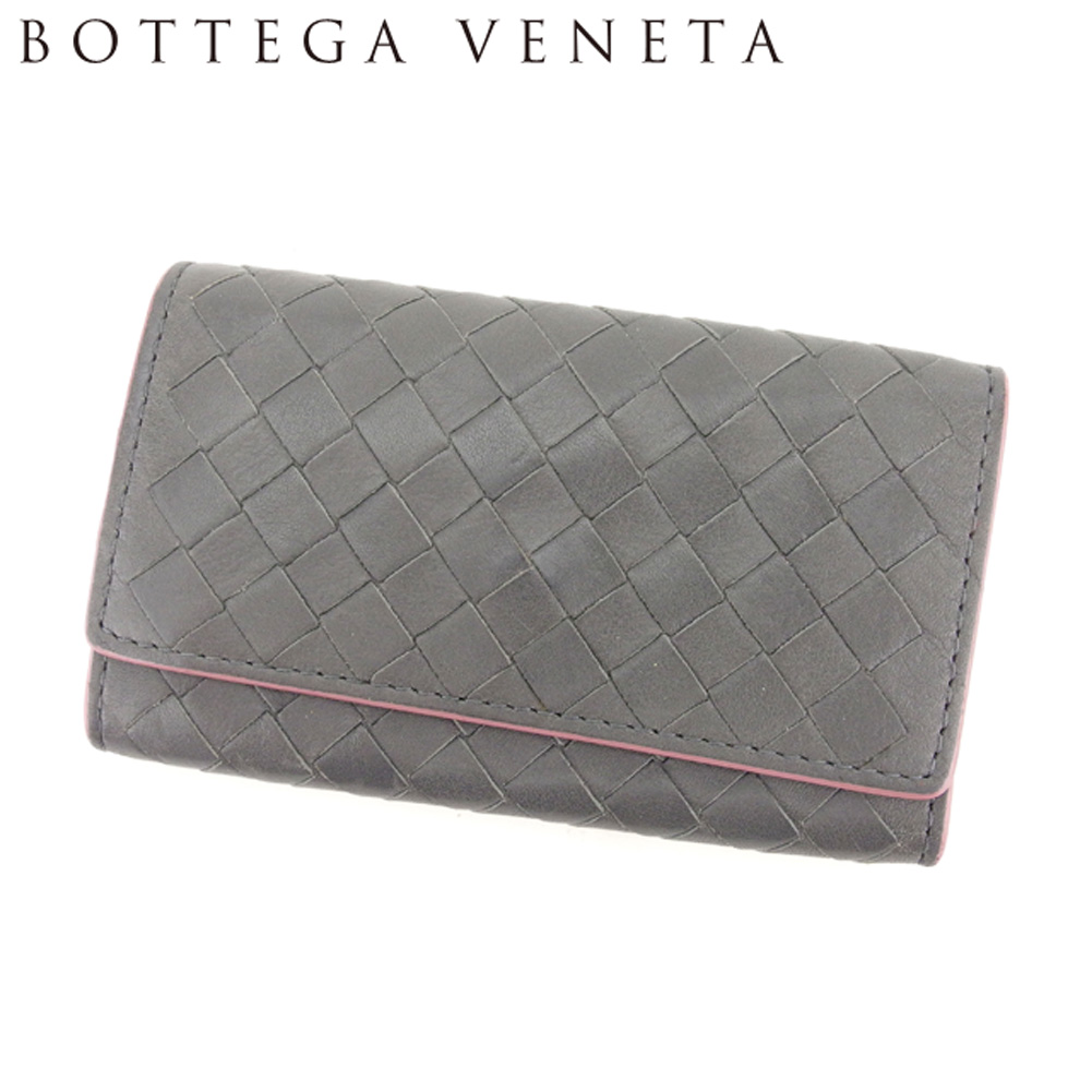 【中古】 ボッテガ ヴェネタ BOTTEGA VENETA キーケース 6連キーケース レディース イントレチャート グレー 灰色 ピンク レザー 美品 セール T8233