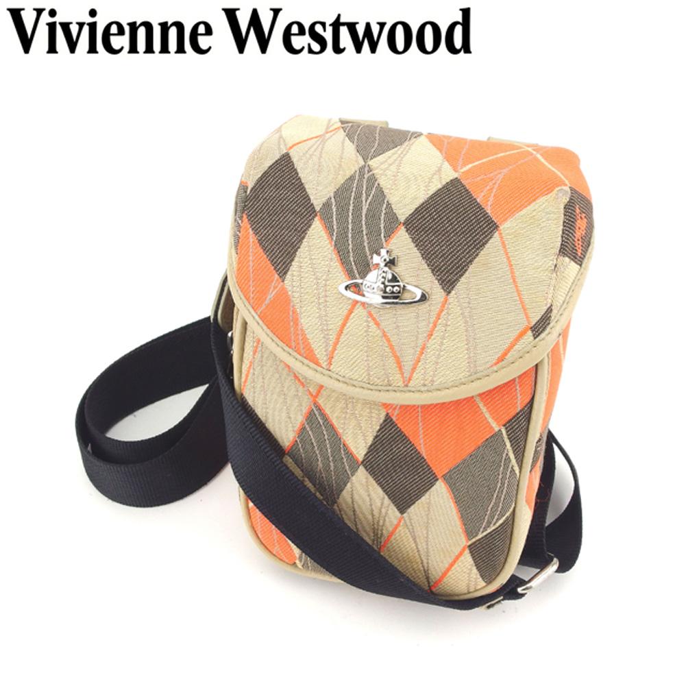 【中古】 ヴィヴィアン ウエストウッド Vivienne Westwood ショルダーバッグ 斜めがけショルダー レディース メンズ オーブ付き アーガイル ベージュ オレンジ ブラック系 キャンバス×レザー 人気 セール T8242