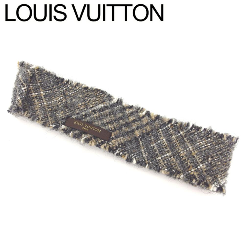 【中古】 ルイ ヴィトン Louis Vuitton ヘアバンド ヘアアクセサリー レディース ツィード ベージュ ブラック系 美品 セール T8247