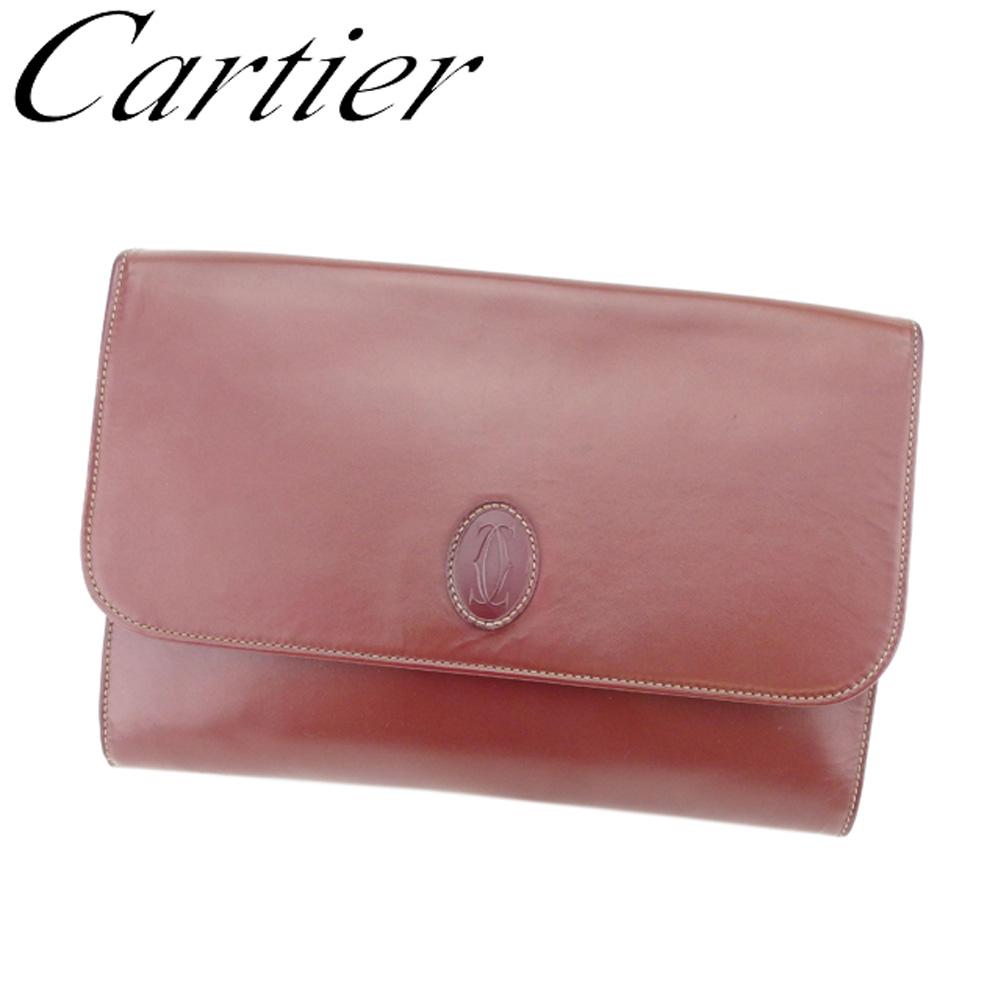 【中古】 カルティエ Cartier クラッチバッグ セカンドバッグ レディース メンズ マストライン ボルドー レザー 人気 セール T8261