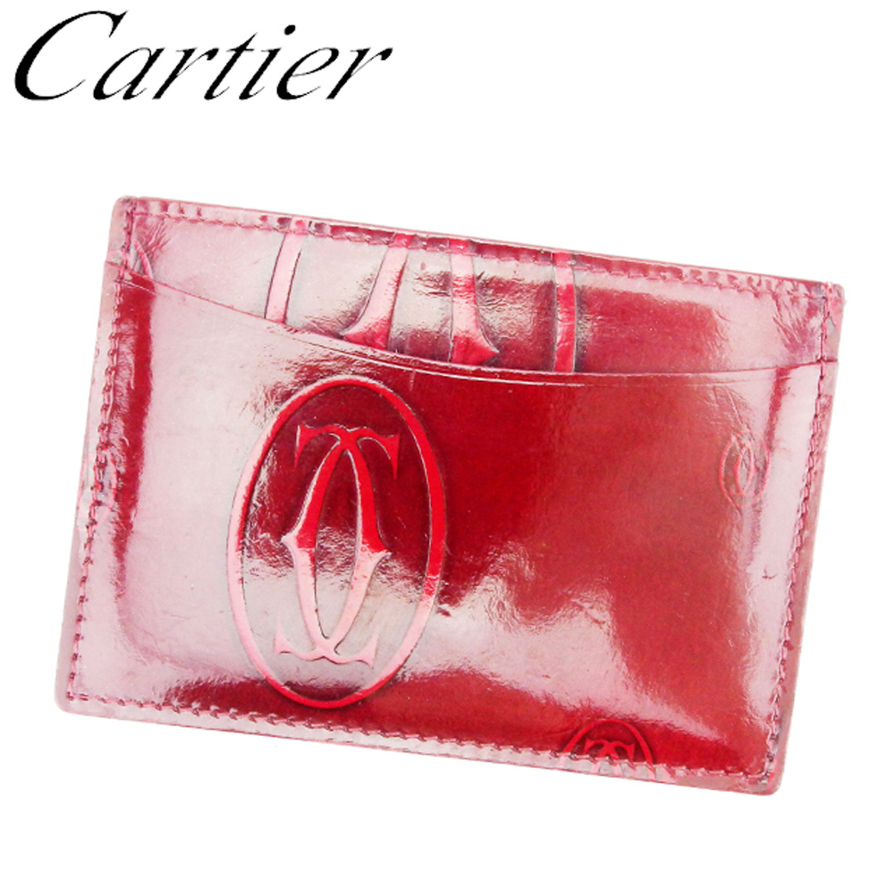 【中古】 カルティエ Cartier カードケース パスケース レディース メンズ ボルドー エナメルレザー T8540 .
