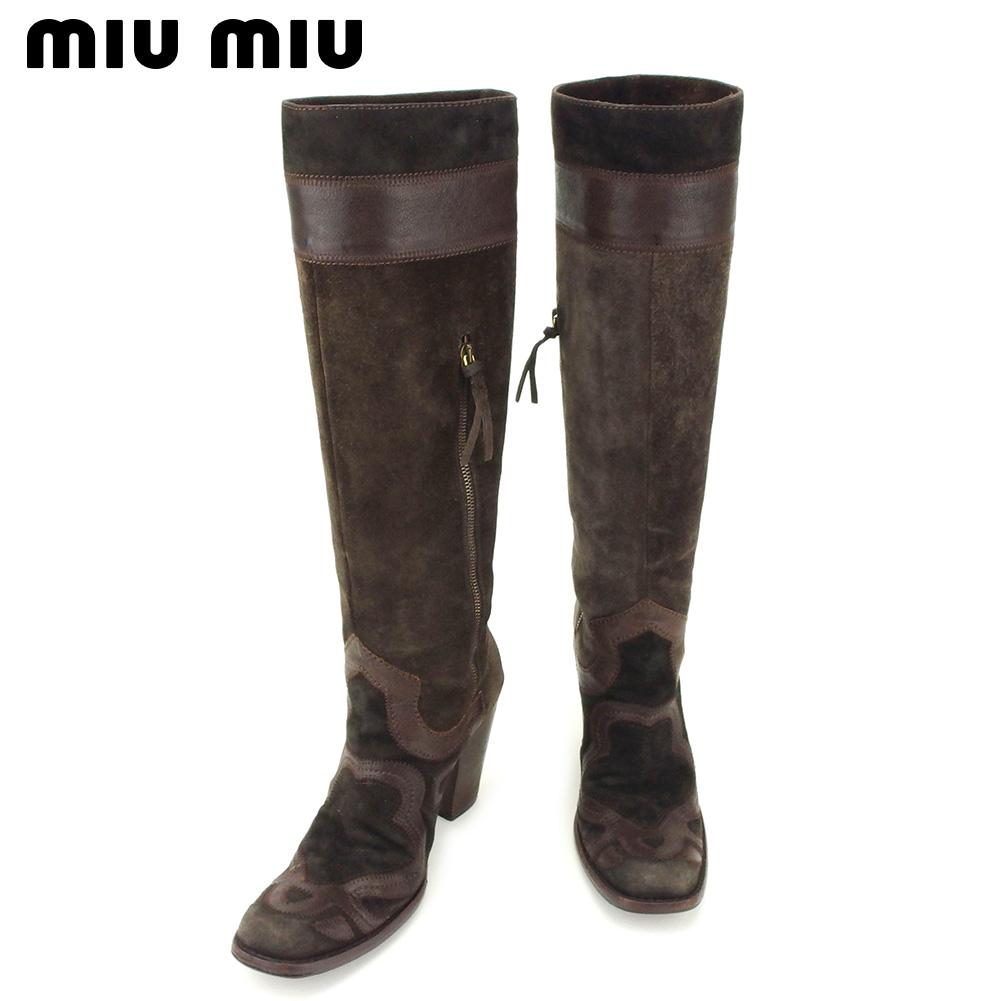 【中古】 ミュウミュウ miu miu ブーツ シューズ 靴 レディース ♯37 ロング ブラウン スエード×レザー D1924