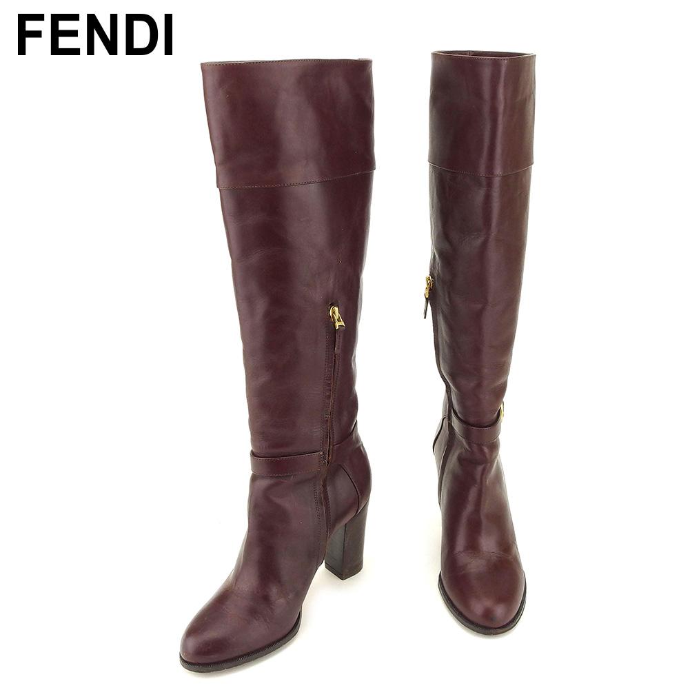 【中古】 フェンディ FENDI ブーツ シューズ 靴 レディース ♯36 FFモチーフベルト付き ブラウン ゴールド レザー D1928