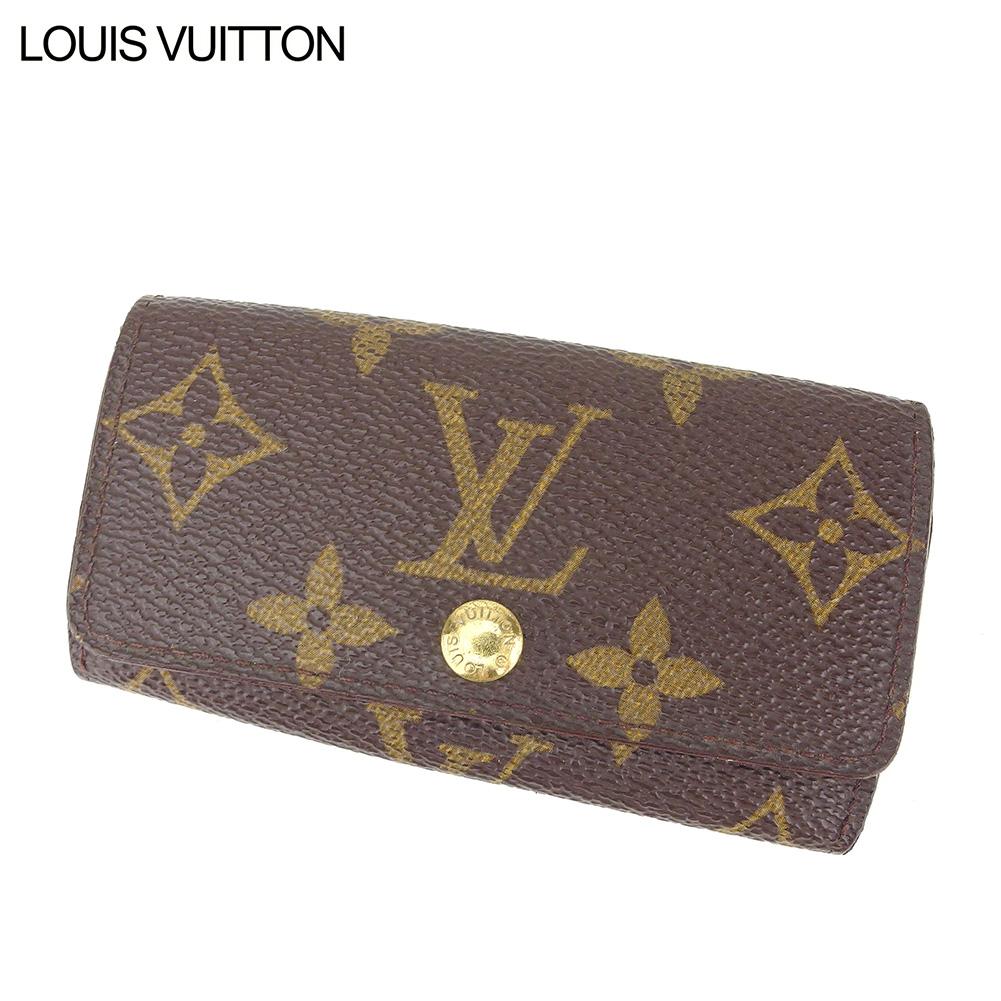 【中古】 ルイ ヴィトン Louis Vuitton キーケース 4連キーケース レディース メンズ ミュルティクレ4 ブラウン ベージュ ゴールド モノグラムキャンバス D1939
