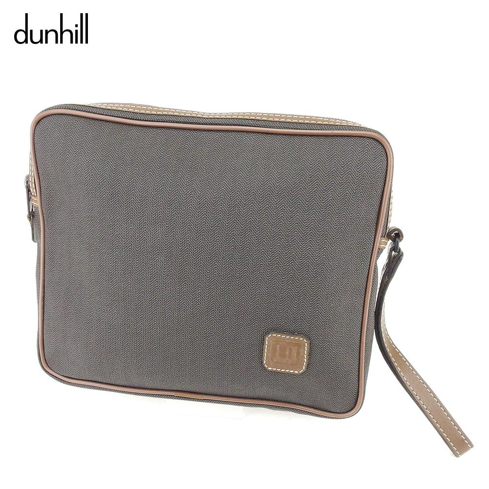 【中古】ダンヒル dunhill クラッチバッグ セカンドバッグ メンズ ヘリンボーン ブラック ブラウン PVC×レザー 美品 D1950