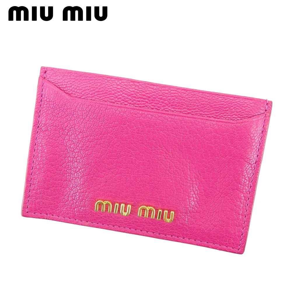 【中古】ミュウミュウ miu miu カードケース パスケース レディース ロゴ ピンク ゴールド レザー D1954