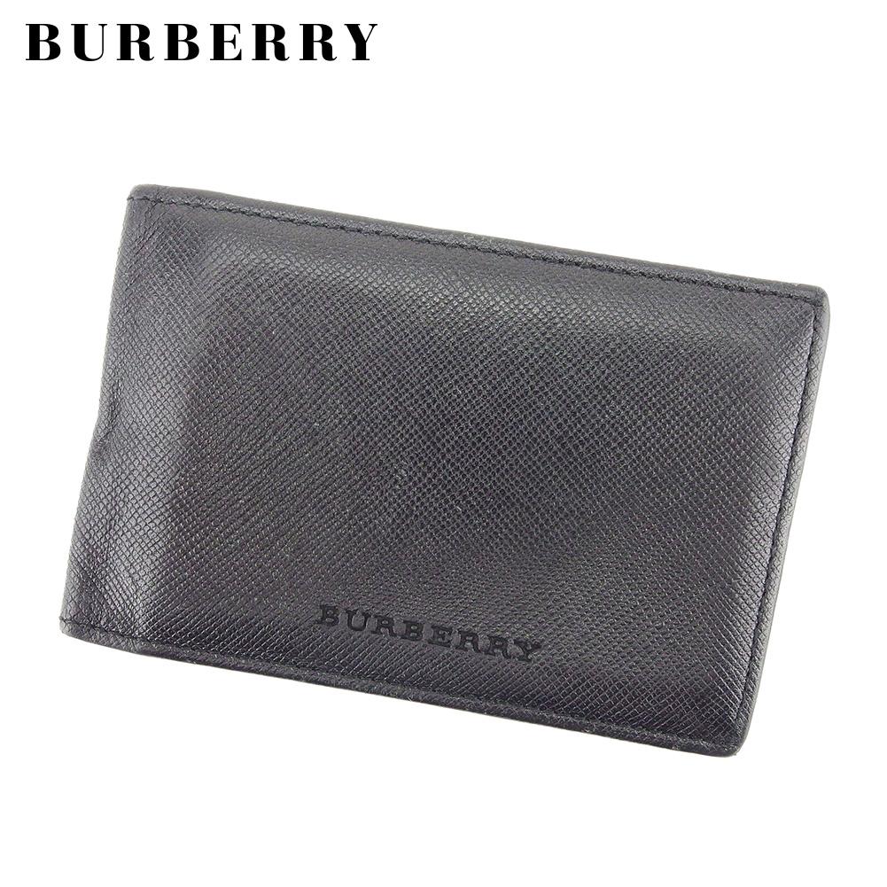 【中古】バーバリー BURBERRY カードケース パスケース メンズ ロゴ ブラック レザー 人気 D1964