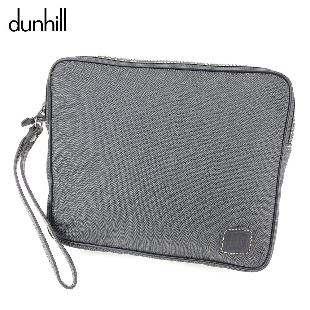 【中古】ダンヒル dunhill クラッチバッグ セカンドバッグ バッグ メンズ ヘリンボーン グレー 灰色 ブラック PVC×レザー 人気 D1965