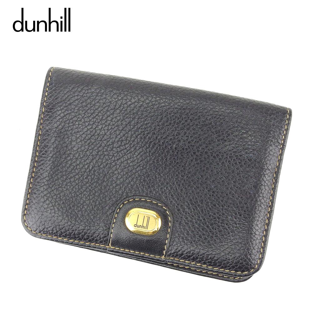 【中古】ダンヒル dunhill カードケース 名刺入れ メンズ ロゴプレート ブラック ゴールド レザー D1967