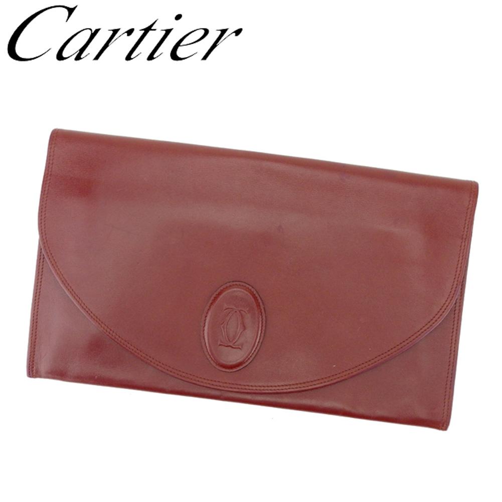 【中古】カルティエ Cartier クラッチバッグ セカンドバッグ レディース メンズ マストライン ボルドー レザー 人気 E1368