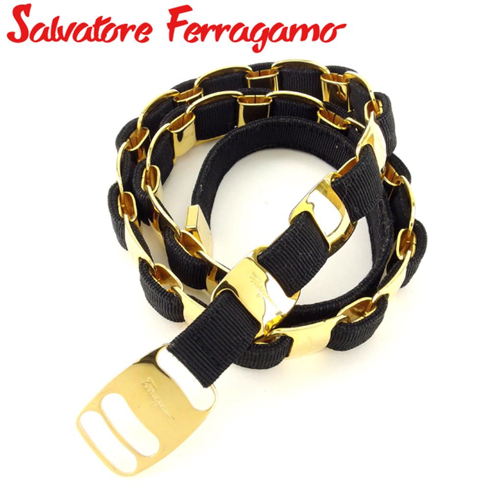 【中古】 サルヴァトーレ フェラガモ Salvatore Ferragamo ベルト レディース ブラック ゴールド キャンバス×ゴールド金具 E1377